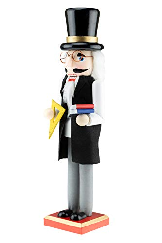 Clever Creations Traditional Wooden Professor Christmas Nutcracker | Black and Gray Outfit Holding Books and Protractor | Festive Christmas Decor | Great for Any Holiday Collection | 15″ Tall