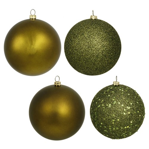 Vickerman Shatterproof Assorted Ball Ornaments Featuring Shiny, Matte, Sequin, and Glitter Finishes, 96 per Box, 1.6″, Olive