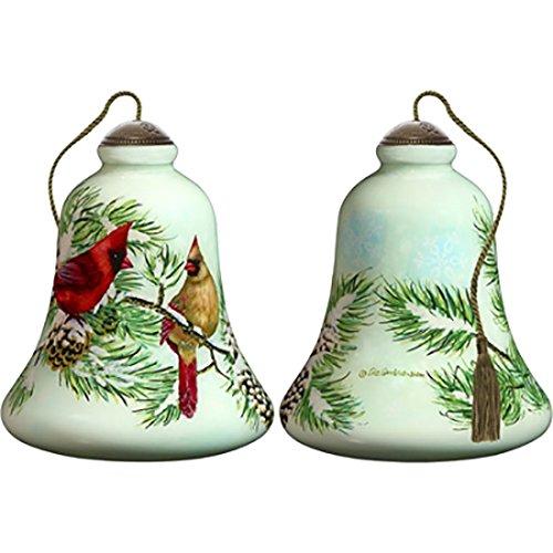 Ne'Qwa Art Hand Painted Blown Glass Winter Cardinals Ornament