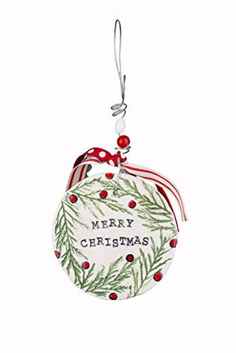 Glory Haus Merry Christmas Holly Flat Ornament Multicolor