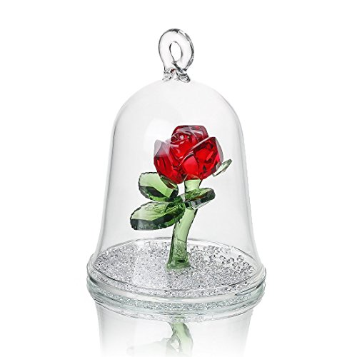 H&D Crystal Enchanted Rose Flower Figurine Dreams Ornament in a Glass Dome Gifts for her(Red)