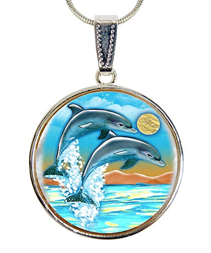 G. Debrekht Flying Dolphins Silver-Plated Mother-of-Pearl Cabochon Round Pendant with Chain Figurine, 18″