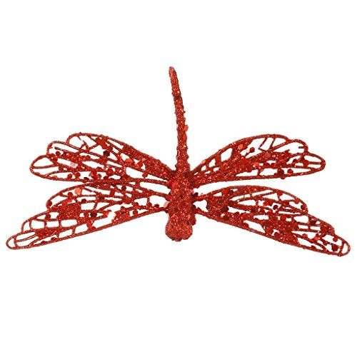 Vickerman 6″ Red Glittered Dragonfly Clip-On Christmas Ornament