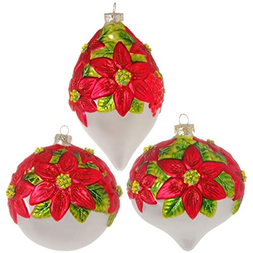 RAZ Imports Poinsettia Set of 3 Glass Ball Ornaments