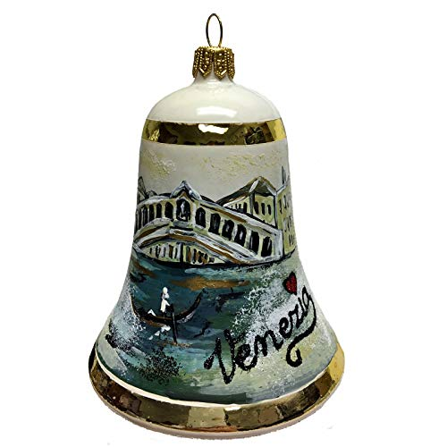 Pinnacle Peak Trading Company I Love Venezia Bell Polish Glass Christmas Ornament Venice Italy Rialto Bridge