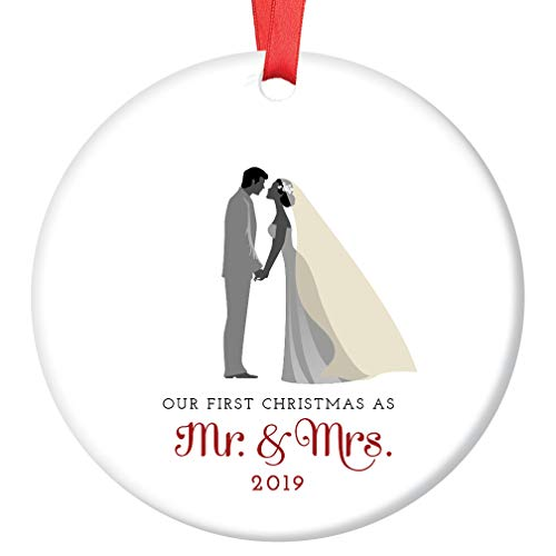 Mr & Mrs Ornament 2019 First Christmas Married Couple Ceramic Collectible Gift Idea for Bride & Groom Newlyweds 1st Holiday Season Wed 3″ Flat Porcelain Keepsake w Red Ribbon & Free Gift Box OR00007