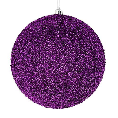 Vickerman 532959-8″ Purple Beaded Ball Christmas Tree Ornament (2 pack) (N185966D)