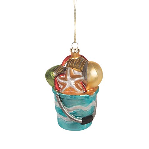 Beachcombers Glass Beach Pail Ornament 4-inch