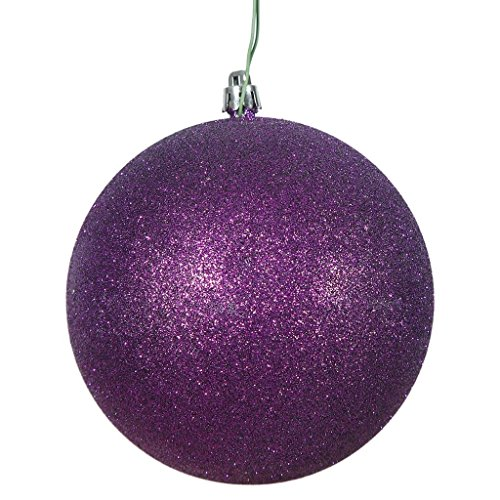 Vickerman 486337 – 8″ Purple Glitter Ball Christmas Tree Ornament (N592066DG)