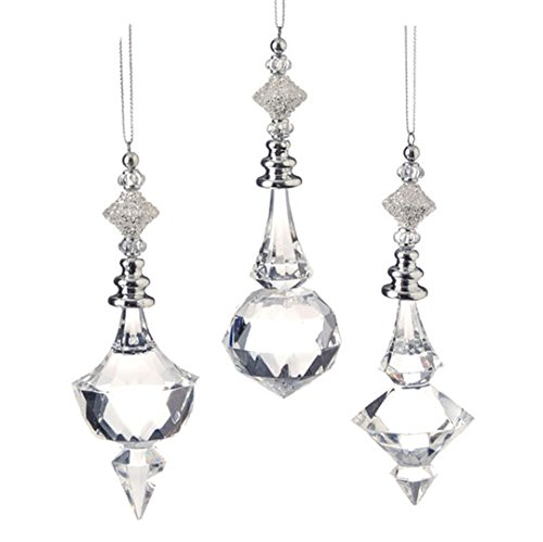 Beaded Drop Ornament – Clear Acrylic 5 Inch Set of 3 – From RAZ