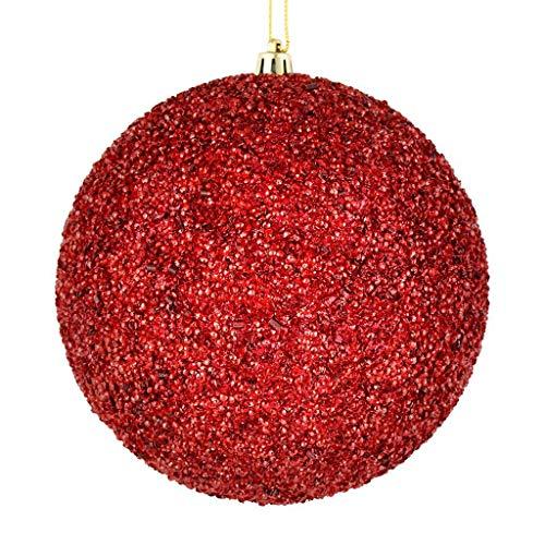 Vickerman 532287-6″ Wine Beaded Ball Christmas Tree Ornament (4 pack) (N185819D)