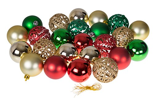 Clever Creations Christmas Ornament Ball Set Gold, Red and Green | 24 Pack | Festive Holiday Décor | Glitter, Gloss, Mirror Ball and Swirl Textures | Shatter Resistant | Hangers Included | 60mm