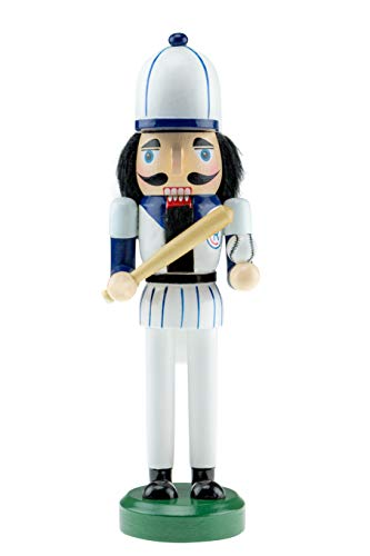 Clever Creations Wooden Baseball Player Nutcracker   Blue and White Uniform Holding Ball and Bat   Festive Traditional Christmas Decor   Great for Any Holiday Collection   10″ Tall Perfect for Shelve