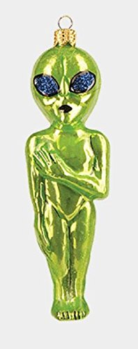 Pinnacle Peak Trading Company Green Outer Space Alien Polish Glass Christmas Tree Ornament Decoration Poland
