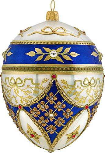 Joy To The World Glitterazzi Regal Jeweled Egg Polish Glass Christmas Tree Ornament Royal Poland