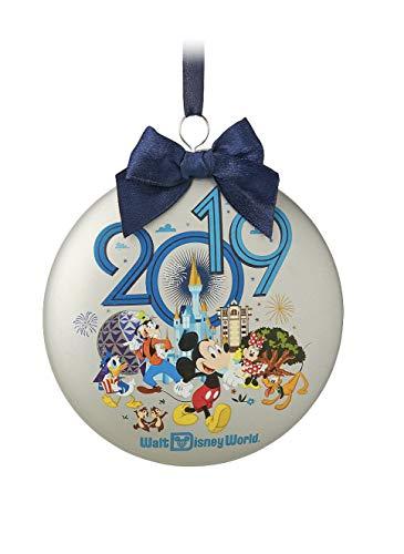 Walt Disney World 2019 Glass Disc Shape Ornament Mickey and Friends