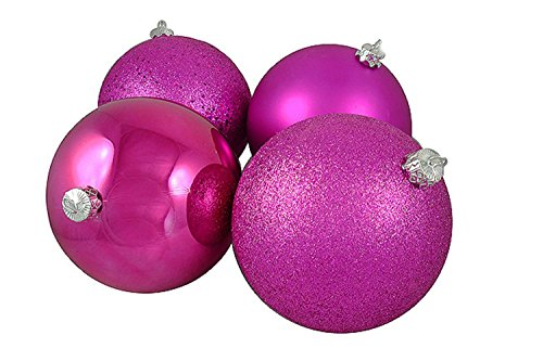 Vickerman 4ct Pink Magenta Shatterproof 4-Finish Christmas Ball Ornaments 6″ (150mm)
