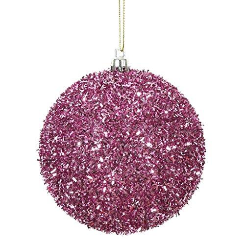 Vickerman 510896-4 Pink Tinsel Ball Christmas Christmas Tree Ornament (4 pack) (N178079)