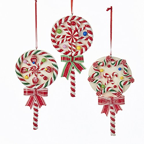LOLLIPOP ORNAMENT – 3 ASSORTED: RED/WHITE/GREEN, RED/WHITE AND STAR PATTERN