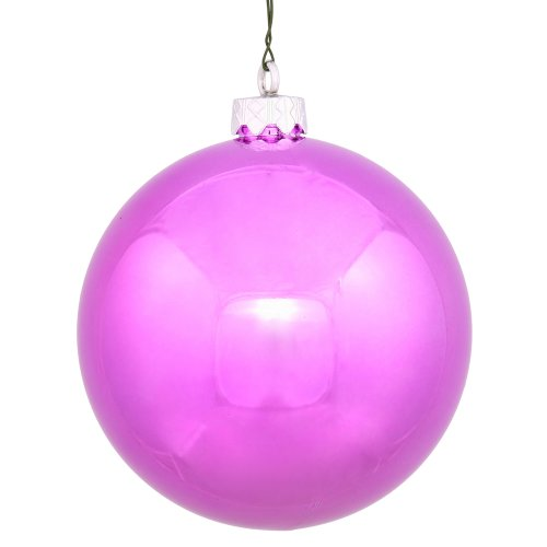 Vickerman Pink Shiny Finish Seamless Shatterproof Christmas Ball Ornament, UV Resistant with Drilled Cap, 6 per Bag, 4″, Orchid