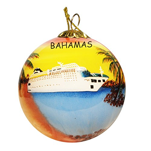 Art Studio Company Hand Painted Glass Christmas Ornament – Cruise Ship Bahamas