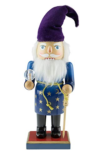 Clever Creations Wizard Nutcracker | Wizard Nutcracker Wearing a Blue Robe Wrapped in a Gold Belt | Accessorized with a Gold Cane, Purple Hat and Clear Crystal | Stands at 10″ Tall
