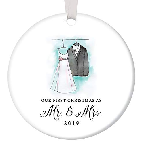 First Christmas Mr & Mrs 2019 Ornament Bride & Groom Wedding Porcelain Keepsake Present Newlywed Couple 1st Holiday Married Gift Idea 3″ Flat Ceramic Collectible w White Ribbon & Free Gift Box OR00018