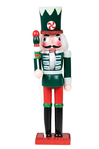 Wooden Candy Soldier Nutcracker | Traditional Christmas Decor | Red, Green & White Uniform with Peppermint Hat | Perfect for Any Collection | Perfect for Shelves & Tables | 100% Wood | 10″ Tall