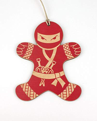 Red Ninja Gingerbread Man Christmas Ornament