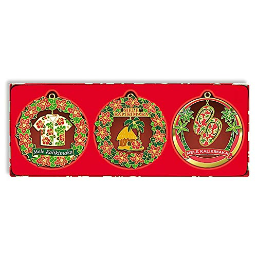 Hawaiian Mele Times 3-Pack Collectible Metal Christmas Ornament