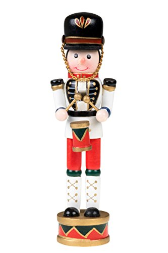 Drummer Nutcracker | Traditional Christmas Decor | Drum and Drum Sticks | White, Blue, Red Drumming Outfit Uniform | Perfect for Any Collection | Perfect for Shelves and Tables | 100% Wood | 7″ Tall