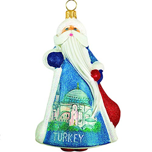 Joy to the World Collectibles Glitterazzi Turkish Santa Polish Glass Christmas Ornament