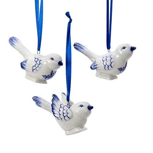 Kurt Adler Porcelain Delft Blue Bird Ornaments,Blue,white, (set OF 3)