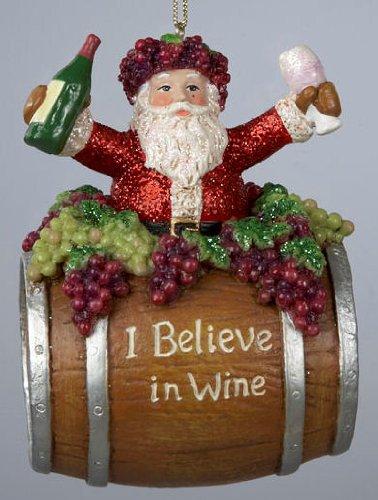 Kurt Adler Santa in Wine Barrel Christmas Ornament