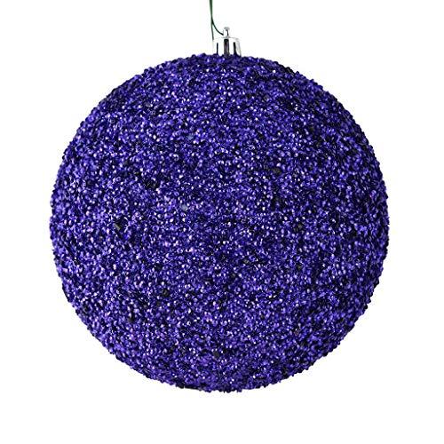 Vickerman 532805-8″ Plum Beaded Ball Christmas Tree Ornament (2 pack) (N185926D)