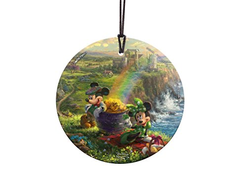 Trend Setters Disney – Mickey and Minnie Mouse – Ireland – Thomas Kinkade – Irish Rainbow Pot of Gold – Light Catcher Suncatcher Hanging Glass Collectible – for Gifting and Collecting Ltd.