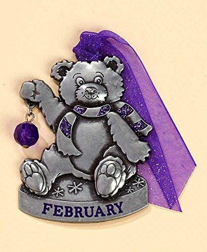 Gloria Duchin Birthstone Bear – February Christmas Ornament, Silver and Red
