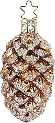 Inge-Glas Pine Cone Hazelnut Shiny 10151S019 German Glass Christmas Ornament