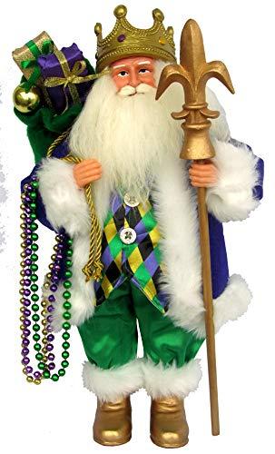 Santa's Workshop Mardi Gras King Santa Figurine, 15″ Tall, Purple/Yellow/Green