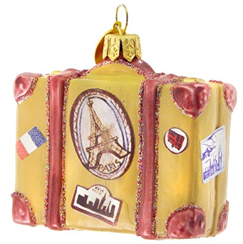 Landmark Creations Vintage Travel Suitcase European Blown Glass Christmas Ornament