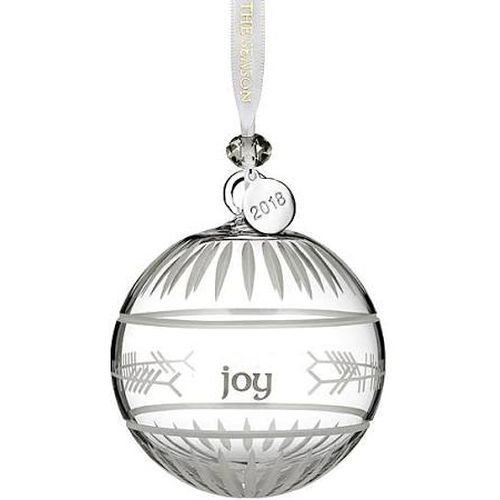 Waterford Crystal 2018 Ogham Joy Ball Ornament 3.7″