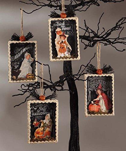 Bethany Lowe Designs Halloween Shadowbox Ornament Set of 4