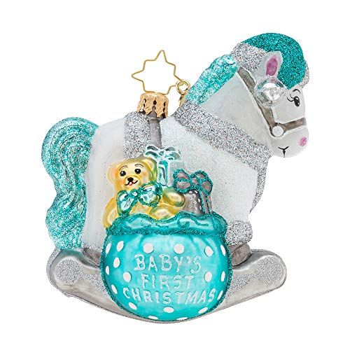 Christopher Radko A Rocking First Christmas Ornament, Blue, White