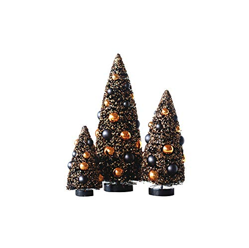 Creative Co-Op Sisal Bottle Brush Halloween Trees with Ornaments (Set of 3 Sizes)