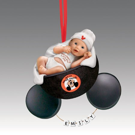 Bradford Exchange Babys First Mickey Mouse Christmas Ornament – Baby in Micky Mouse Hat