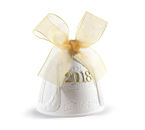 Lladro Christmas Bell 2018 Porcelain 01018438 Annual Ornament 8438 Yellow Ribbon Hand Made in Spain