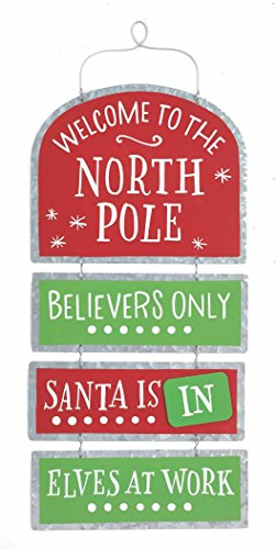 Welcome to The North Pole Santa is in/Out Tin Christmas Sign – Hanging Holiday Decoration