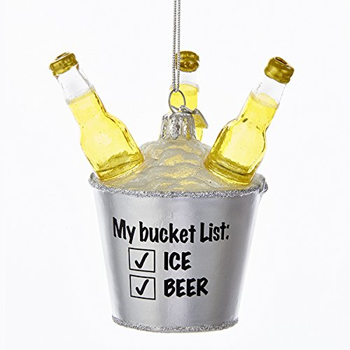 "Kurt Adler NOBLE GEMS GLASS BEER BUCKET ""MY BUCKET LIST ICE BEER"" ORNAMENT"