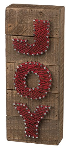 Primitives by Kathy Christmas String Art Box Sign, Joy