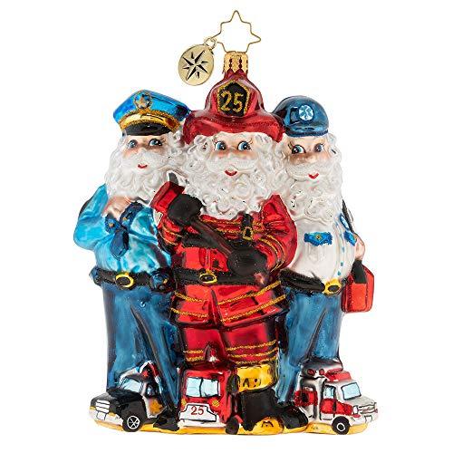 Christopher Radko 2019 St. Nick First Responders Christmas Ornament, red, Blue, White